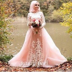 Design Gaun Pengantin Putih Muslim Dwdk Muslim Long Sleeve Wedding Dress Detachable Train Blush Pink