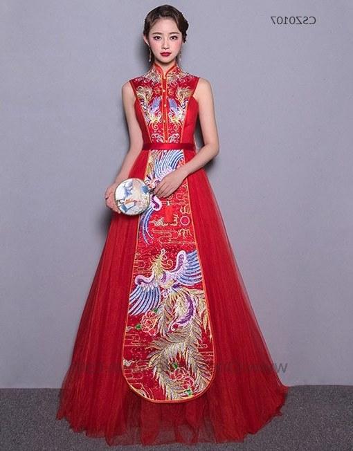 Design Model Gaun Pengantin Muslimah Q5df Sleeveless Phoenix Embroidery Floor Length Chinese Wedding Dress