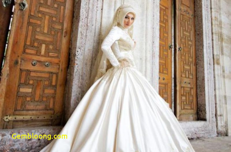 Gaun Pengantin Berhijab Luxury Gaun Pengantin Muslimah Warna Putih