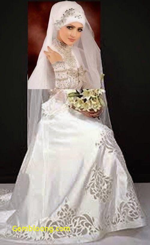 Gaun Pengantin Berhijab Unique Gambar Baju Pengantin Muslim Modern Putih & Elegan