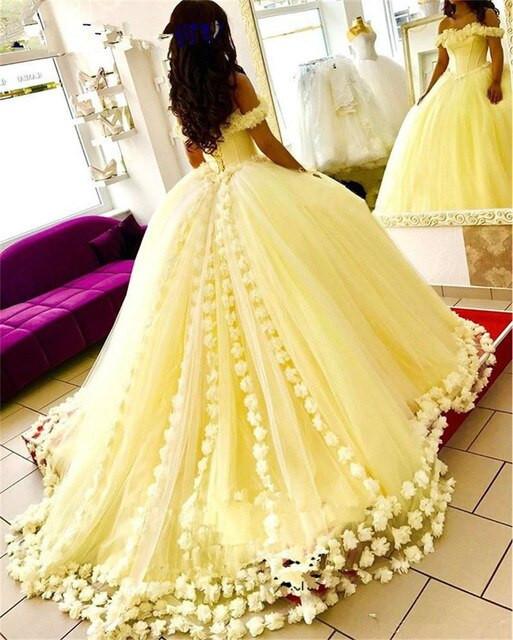 Gaun Pengantin Muslimah Elegant Us $134 1 Off Kuning Vestido De Noiva 2019 Muslim Pernikahan Gaun Bola Gaun F Bahu Bunga Dubai Arab Gaun Pengantin Gaun Pengantin Di Wedding