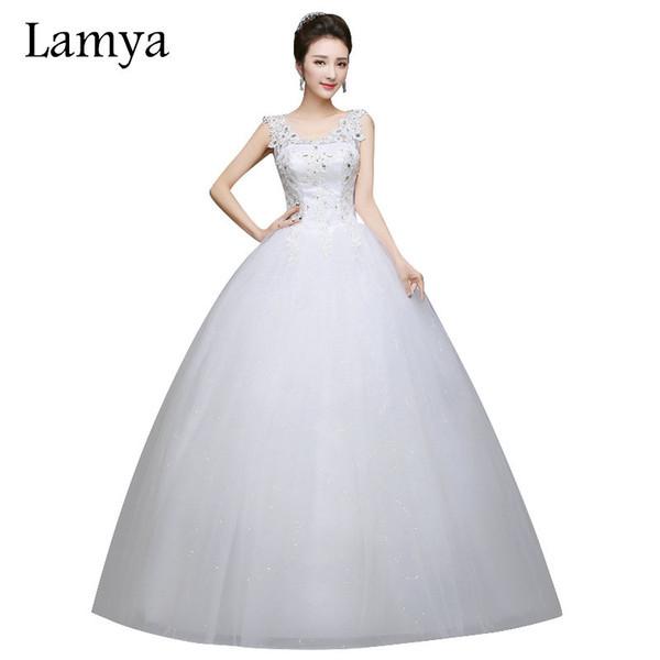 Gaun Pengantin Muslimah Inspirational wholesale Romantic Y V Neck Lace Wedding Dresses 2019 Elegant Princess Bride Gown Dresses Lace Up Vestido De Noiva Princess Gown Wedding Dresses