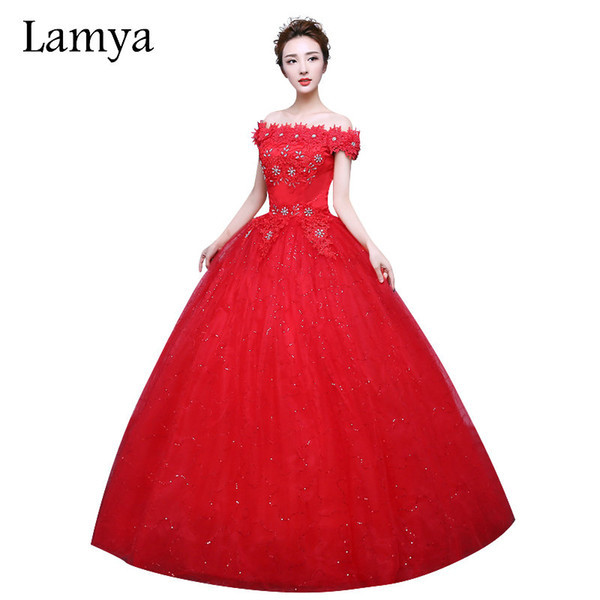 Gaun Pengantin Muslimah Lovely wholesale Fashionable Red Lace F the Shoulder Wedding Dress Customized Bridal Gowns Flowers with Crystal Vestido De Noiva White Wedding Dresses