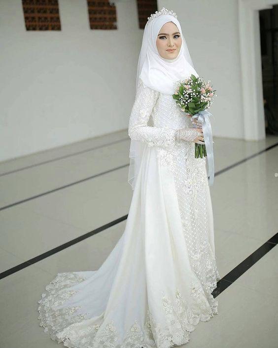 Gaun Pengantin Muslimah Luxury 30 Model Gamis Pengantin Brokat Fashion Modern Dan