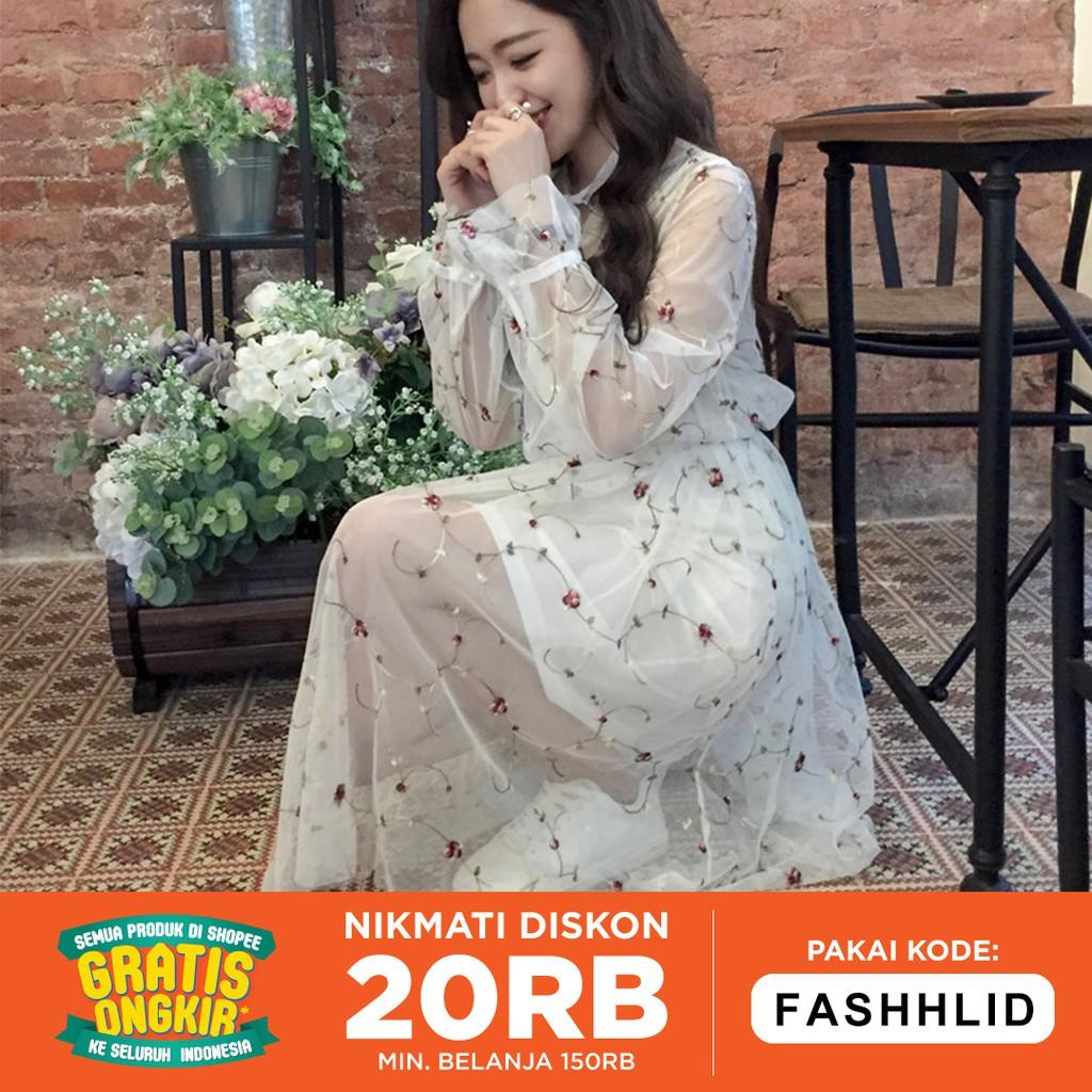 Gaun Pengantin Muslimah Mewah Awesome Flower Embroidery Lace Yarn Dress Two Piece Dress