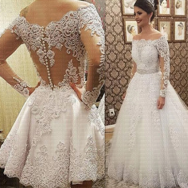Gaun Pengantin Muslimah Mewah Lovely Ls Vestido De Noiva Casamento See Through Belakang