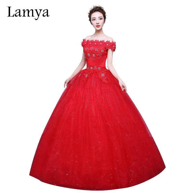 Gaun Pengantin Muslimah Modern 2018 Fresh wholesale Fashionable Red Lace F the Shoulder Wedding Dress Customized Bridal Gowns Flowers with Crystal Vestido De Noiva