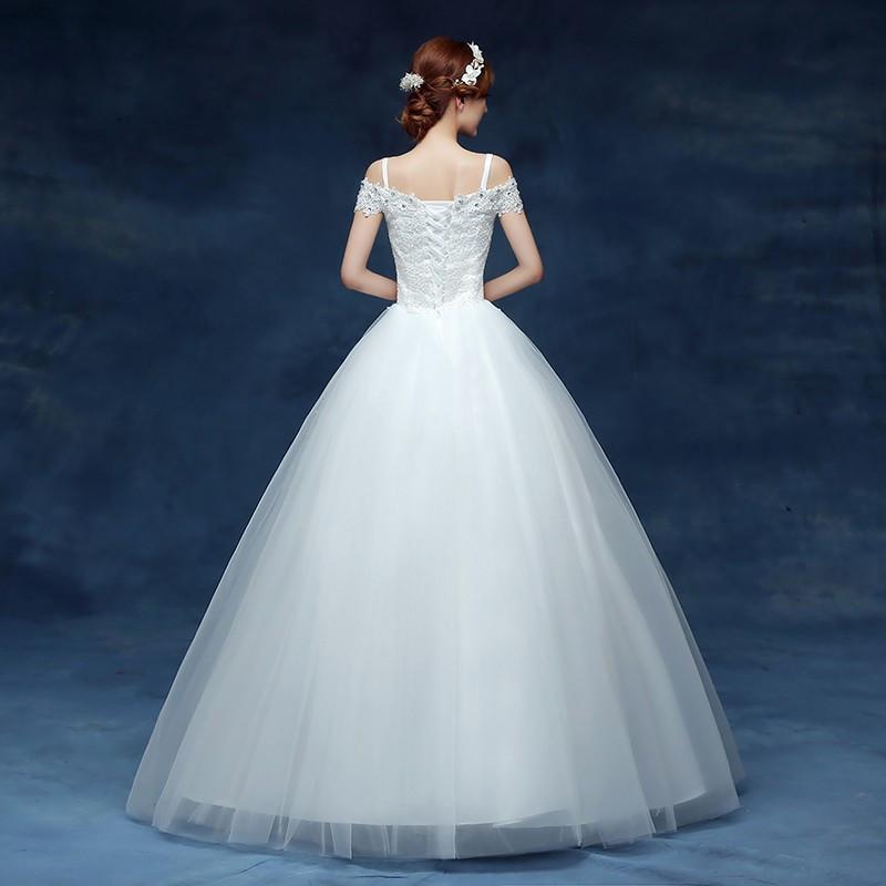 Gaun Pengantin Muslimah Modern Elegan Luxury wholesale 2019 Cheap Short Lace Sleeve Plus Size Boat Neck Wedding Dress Princess Fashin Dresses Robe De Mariage