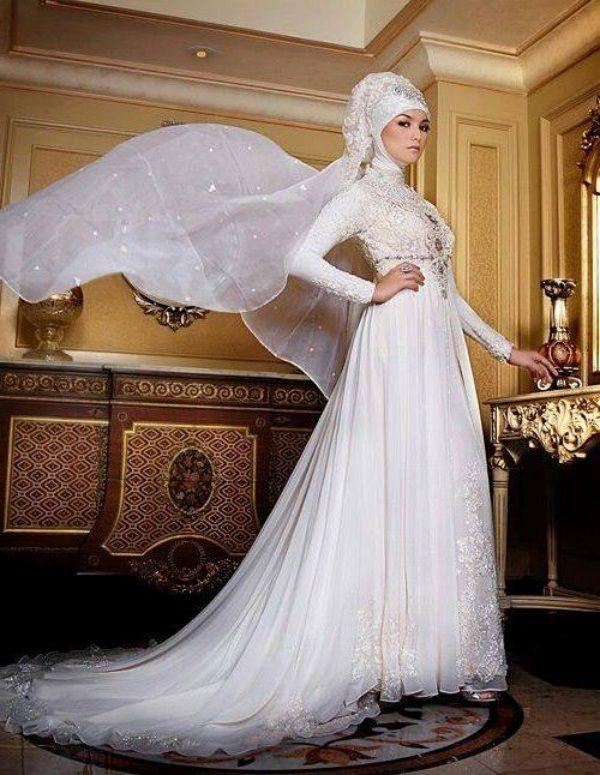 Gaun Pengantin Muslimah Modern Elegant Baju Kebaya Pengantin Muslim Warna Putih