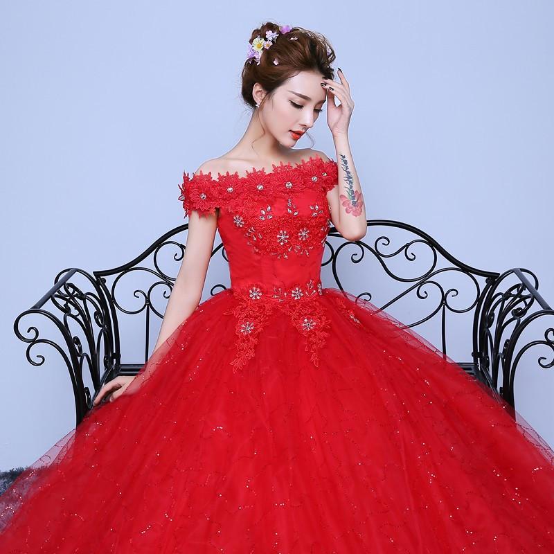 Gaun Pengantin Muslimah Modern Fresh wholesale Fashionable Red Lace F the Shoulder Wedding Dress Customized Bridal Gowns Flowers with Crystal Vestido De Noiva White Wedding Dresses