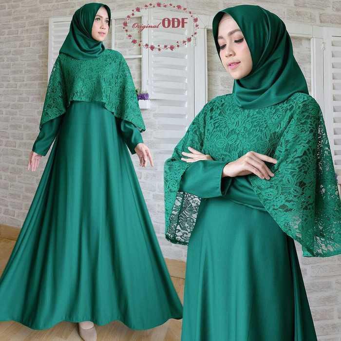 Gaun Pengantin Muslimah Modern Warna Gold Elegant Baju Gamis Brokat Warna Hijau Gamis Brokat