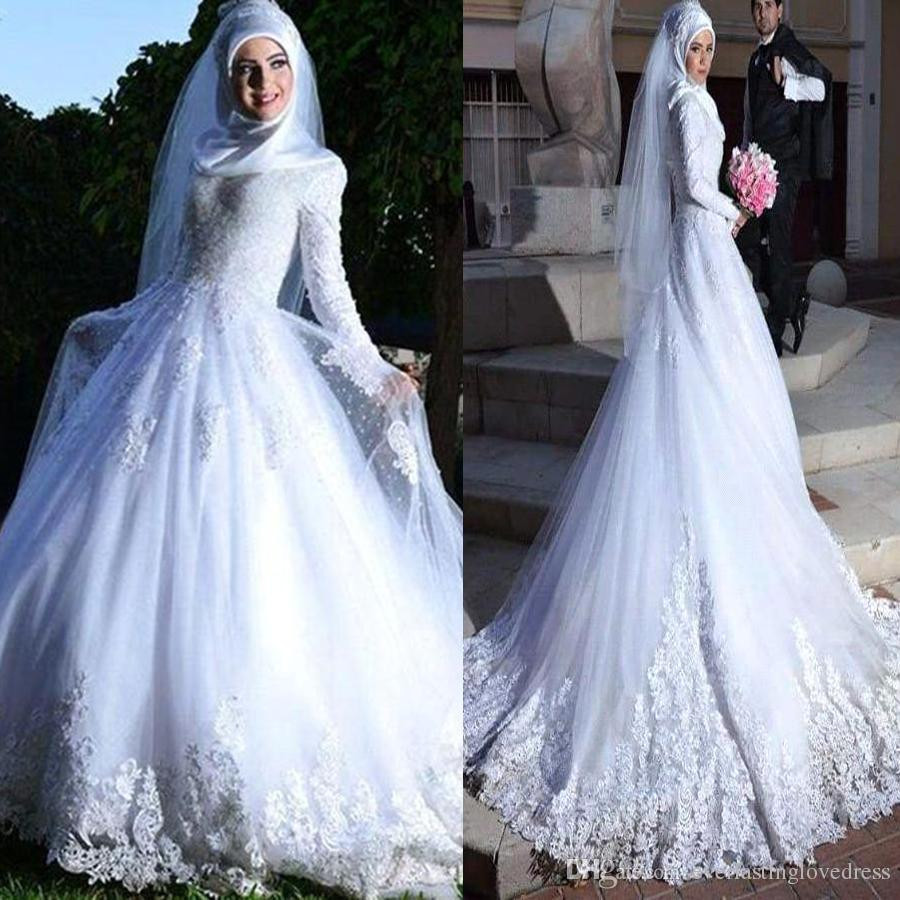 Gaun Pengantin Muslimah Modern Warna Gold Fresh islamic Hijab Wedding Dresses – Fashion Dresses