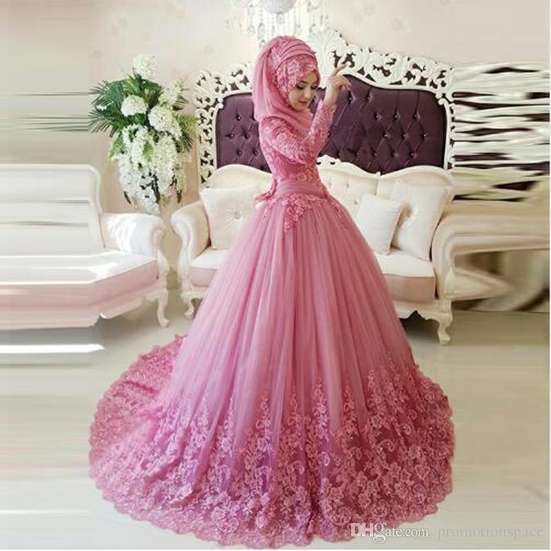 Gaun Pengantin Muslimah Modern Warna Pink Beautiful islamic Hijab Wedding Dresses – Fashion Dresses