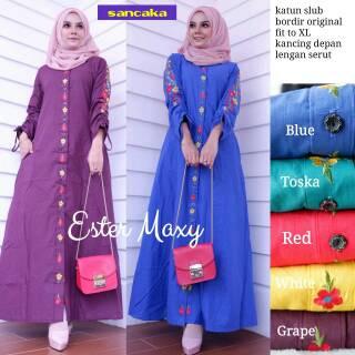 Gaun Pengantin Muslimah Modern Warna Pink Elegant Ester Maxy Dress Muslim Bahan Katun Slub