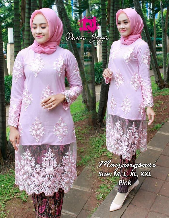 Gaun Pengantin Muslimah Modern Warna Pink Elegant Jual Kebaya Modern Setelan Tunik Mayangsari Bahan Tile Bordir Warna Pink Dki Jakarta Ratu Kebaya Fashion