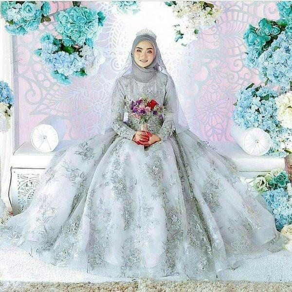 Gaun Pengantin Muslimah Modern Warna Putih Awesome 15