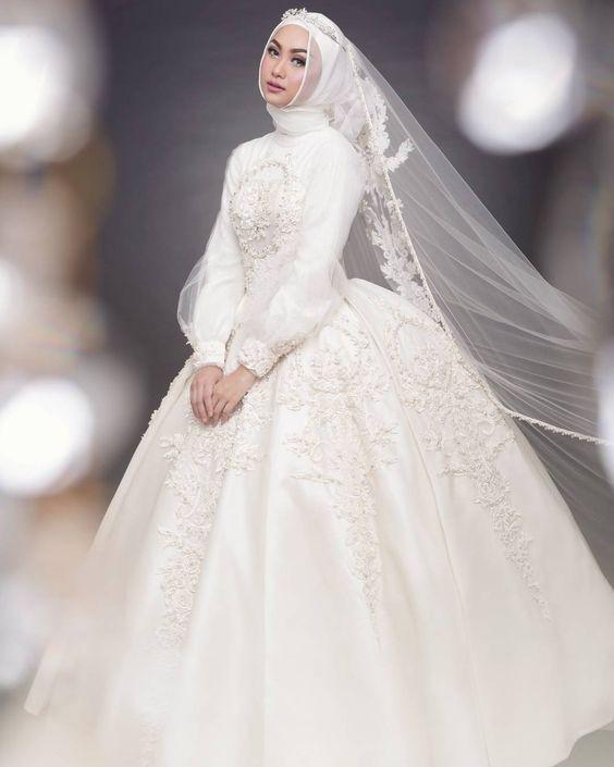 Gaun Pengantin Muslimah Modern Warna Putih Elegant 59 Desain Gaun Pengantin Muslim Modern Terbaru Dan
