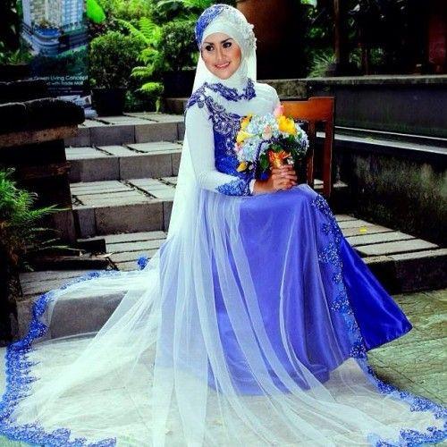 Gaun Pengantin Muslimah Modern Warna Putih New Gaun Pengantin Muslimah Biru 6