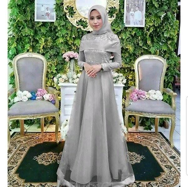 Gaun Pengantin Muslimah Modern Warna Silver Elegant Gaun Pengantin Warna Abu Abu