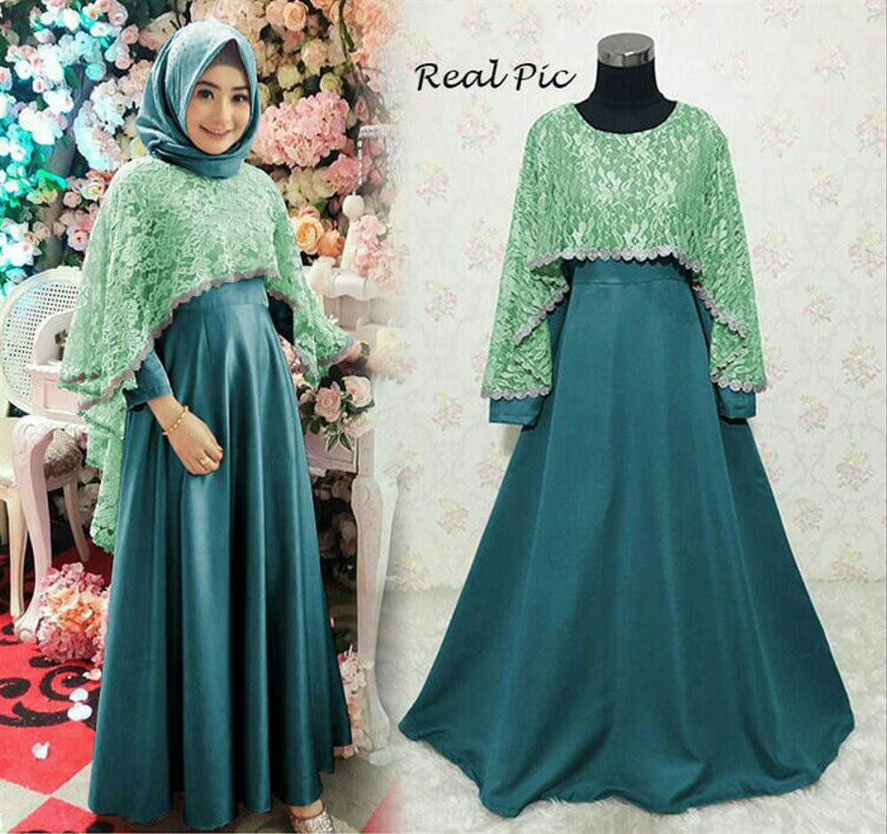 Gaun Pengantin Muslimah Modern Warna Silver Luxury Dress Brokat Warna Hijau Gamis Brokat