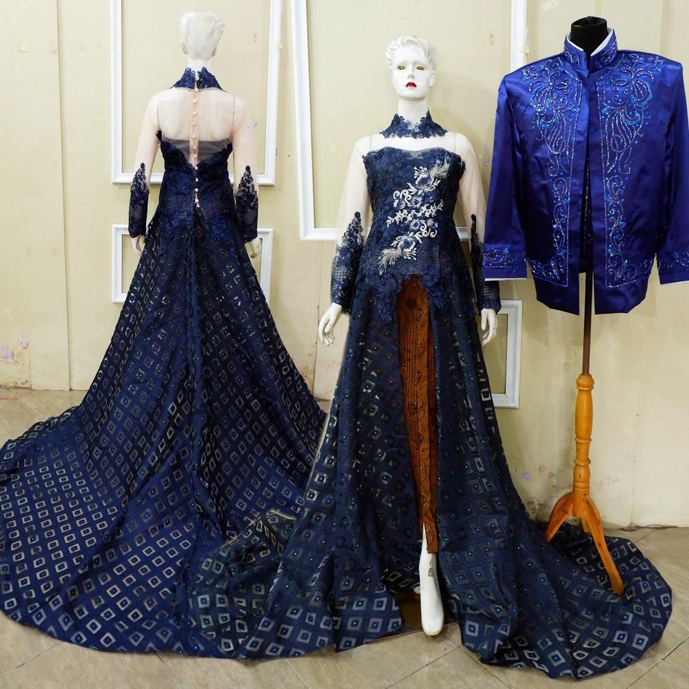 Gaun Pengantin Muslimah Modern Warna Silver Luxury Gaun Pengantin Navy