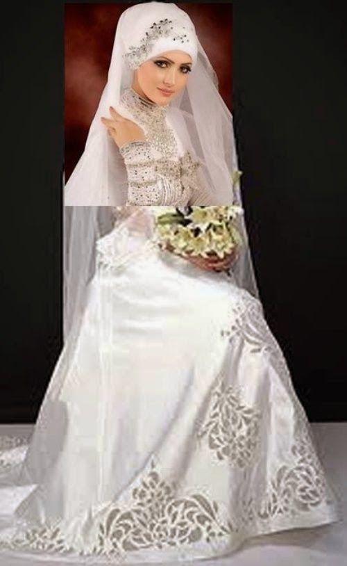 Gaun Pengantin Muslimah Modern Warna Silver Luxury top Baju Pengantin Dodotan Muslim