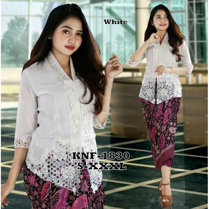 Gaun Pengantin Muslimah Modern Warna Silver New New Fashion Set Kebaya Encim Putih Lengan 7 8 Knf Trend Masa Zaman now