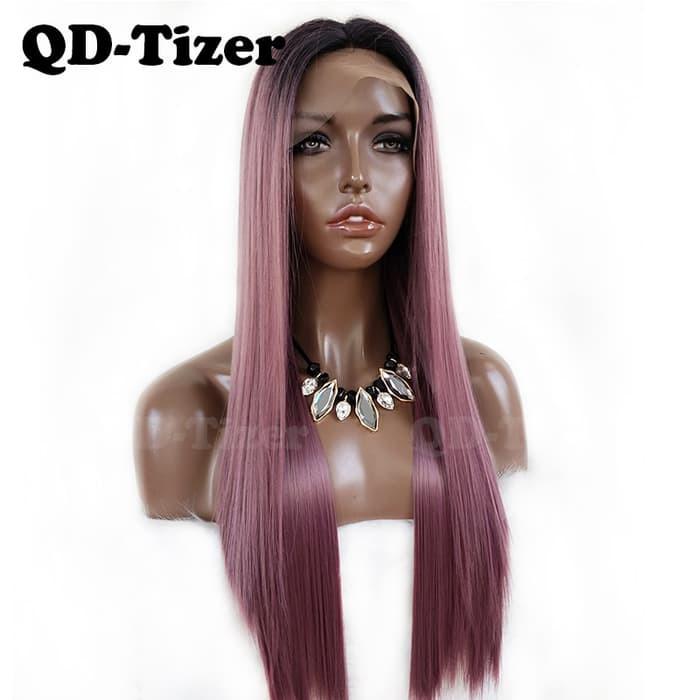 Gaun Pengantin Muslimah Putih Luxury Jual Qd Tizer Purple Ombre Synthetic Lace Front Wig Glueless Straight Jakarta Barat Agen Busana Wanita