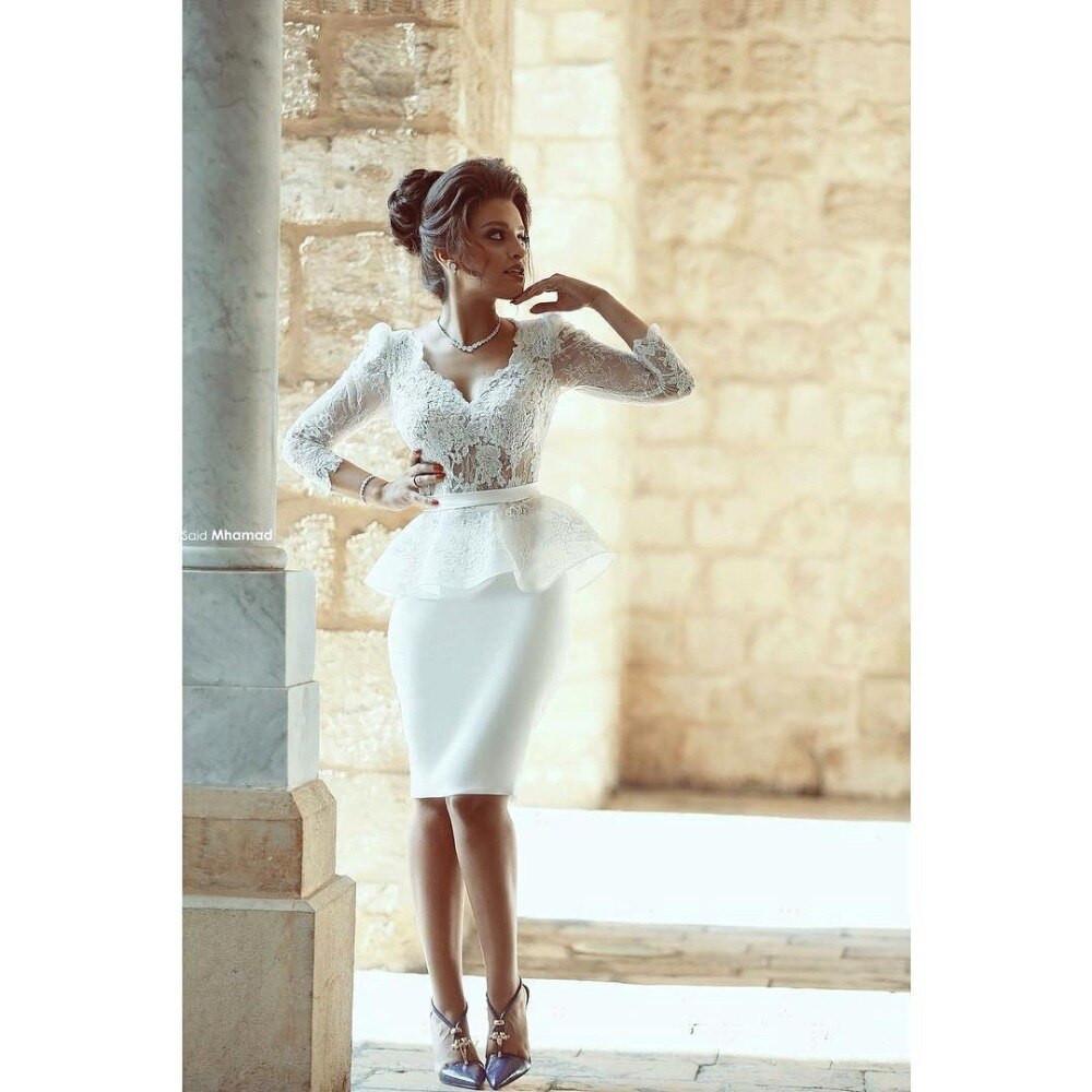 Gaun Pengantin Muslimah Putih New Elegant White Lace Short Wedding Dresses Peplum Bridal Dress