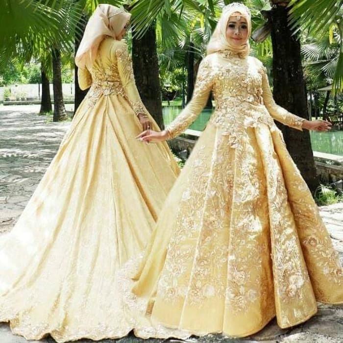 Gaun Pengantin Muslimah Sederhana Tapi Elegan New Kebaya Muslim Hijau tosca