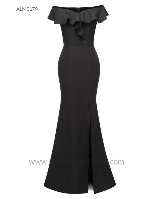 Gaun Pengantin Muslimah Simple Dan Elegan Lovely 3 Colors F Shoulder Draping evening Dress