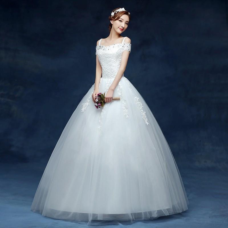 Gaun Pengantin Muslimah Simple Elegan Fresh wholesale 2019 Cheap Short Lace Sleeve Plus Size Boat Neck Wedding Dress Princess Fashin Dresses Robe De Mariage