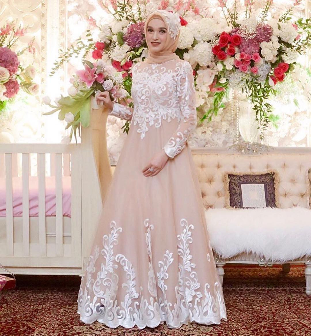 Gaun Pengantin Muslimah Untuk orang Gemuk Lovely 17 Model Baju Pengantin Muslim 2018 Desain Elegan Cantik