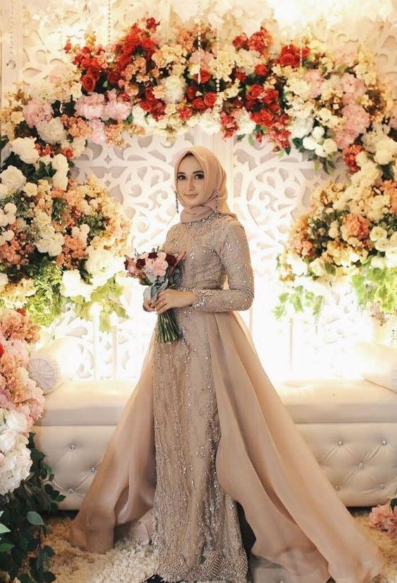 Gaun Pengantin Muslimah Untuk orang Gemuk Lovely Tampak Elegan Ini Dia 5 Warna Gaun Pengantin Muslimah