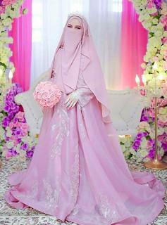 Gaun Pengantin Syari Muslimah Bercadar Awesome Gamis Walimah Syar I Terbaru