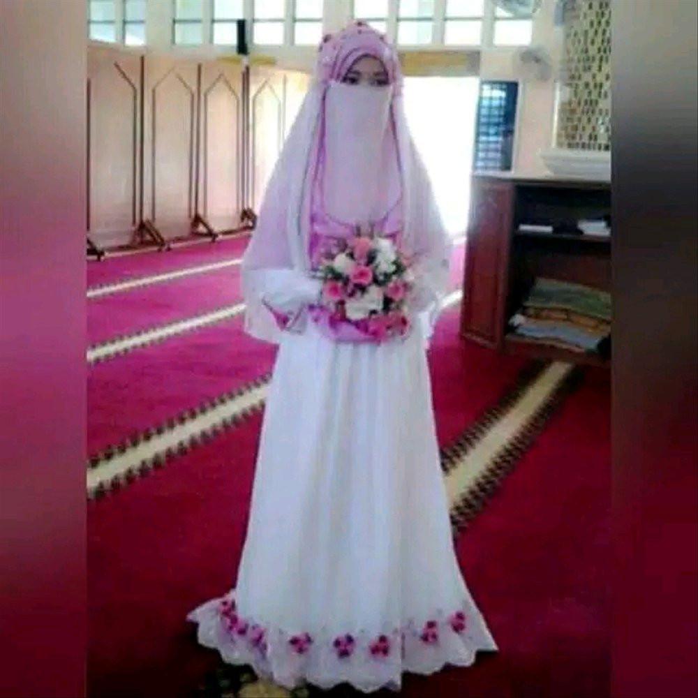 Gaun Pengantin Syari Muslimah Bercadar Elegant Gaun Pengantin Muslimah