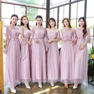 Ide Baju Pendamping Pengantin Muslimah Txdf ❤girlmaid❤ Setelan Kemeja Lengan Panjang Retro Dress Lipit Midi Wanita Tali Spaghetti Musim Panas