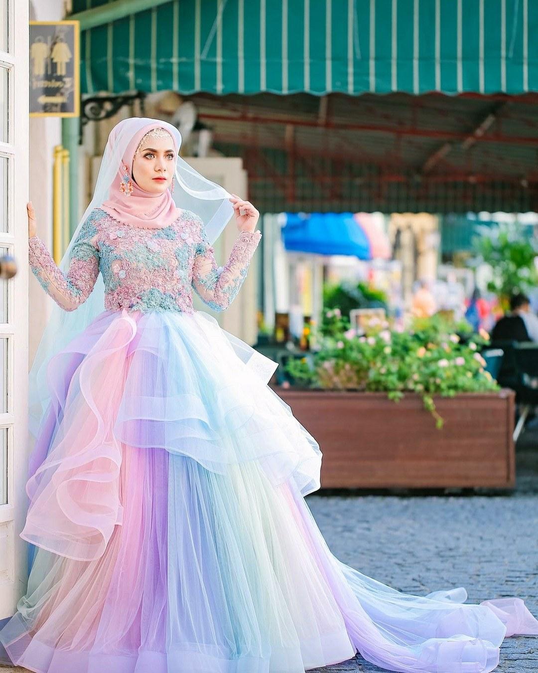 Ide Baju Pengantin Muslimah Thdr 34 Inspirasi Terpopuler Gaun Pengantin Malaysia