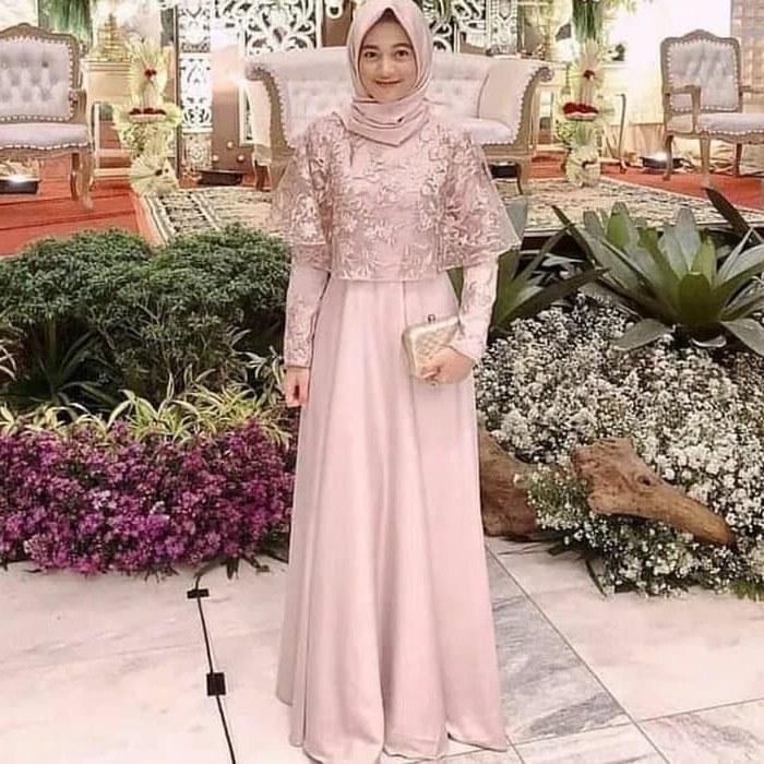 Ide Baju Pesta Pernikahan Muslimah 3id6 Dress Muslim Untuk Pesta Pernikahan Gamis Brokat