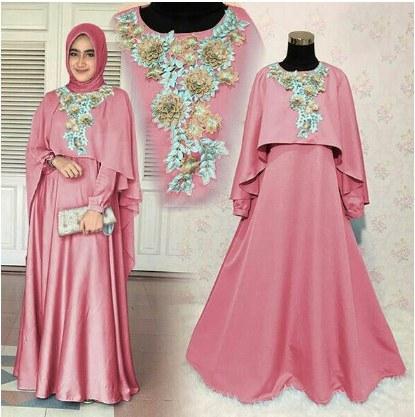 Ide Baju Pesta Pernikahan Muslimah Etdg Model Baju Gamis Pesta Pernikahan 2017 Mawar Pink Jual