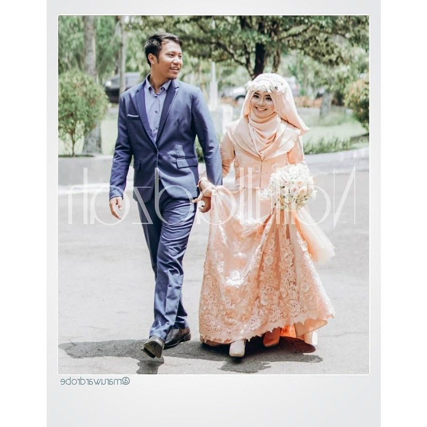 Ide Dress Pernikahan Muslimah Q5df Sewa] Gaun Pengantin Muslimah Syar I Peach Long Dress