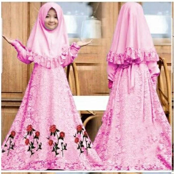 Ide Foto Baju Pengantin Muslim Mndw Jual New Baju Muslim Syar I Gamis Anak Herbie Kids Od Jersey Mix Brukat Fuchsia Kota Bekasi All New Shop