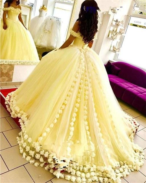 Ide Gaun Pengantin Muslimah 2019 0gdr Us $134 1 Off Kuning Vestido De Noiva 2019 Muslim Pernikahan Gaun Bola Gaun F Bahu Bunga Dubai Arab Gaun Pengantin Gaun Pengantin Di Wedding