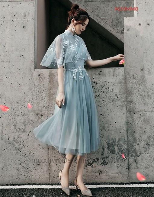 Ide Gaun Pengantin Muslimah 2019 8ydm Gray Blue 6 Designs Tea Length Bridesmaid Dinner Dress