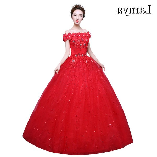 Ide Gaun Pengantin Muslimah 2019 Bqdd wholesale Fashionable Red Lace F the Shoulder Wedding Dress Customized Bridal Gowns Flowers with Crystal Vestido De Noiva White Wedding Dresses