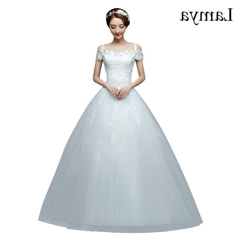 Ide Gaun Pengantin Muslimah 2019 Fmdf wholesale 2019 Cheap Short Lace Sleeve Plus Size Boat Neck Wedding Dress Princess Fashin Dresses Robe De Mariage