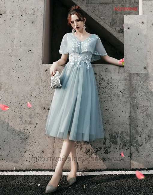 Ide Gaun Pengantin Muslimah 2019 Jxdu Gray Blue 6 Designs Tea Length Bridesmaid Dinner Dress