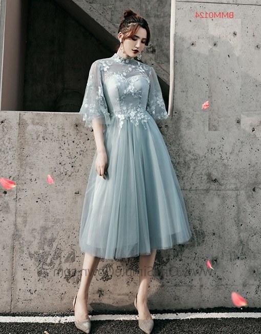 Ide Gaun Pengantin Muslimah 2019 Nkde Gray Blue 6 Designs Tea Length Bridesmaid Dinner Dress