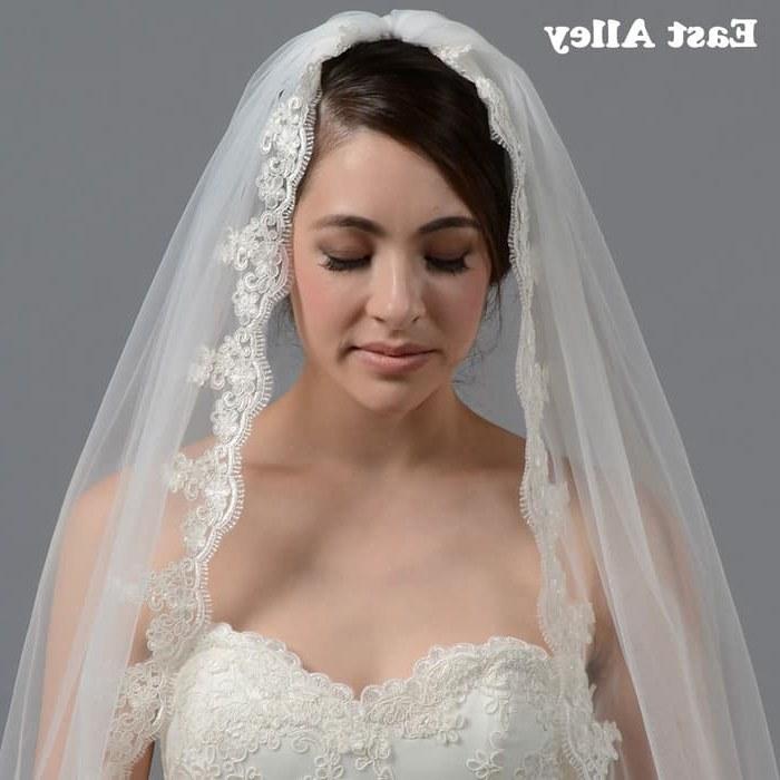 Ide Gaun Pengantin Muslimah 2019 Thdr Jual White Ivory Mantilla Veil Fingertip Alencon Lace Wedding Veil with Kota Surabaya Ventura Mart