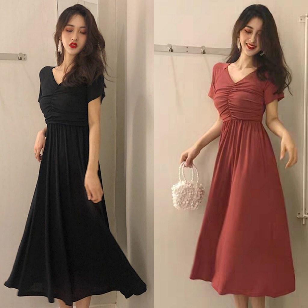 Ide Gaun Pengantin Muslimah Malaysia 4pde Fashion Korea Plus Size Summer Women V Neck Pure Color Dress Short Sleeve Midi Dresses Women S Casual Baju Kurung